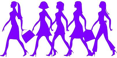 複数女性が歩いているイラスト