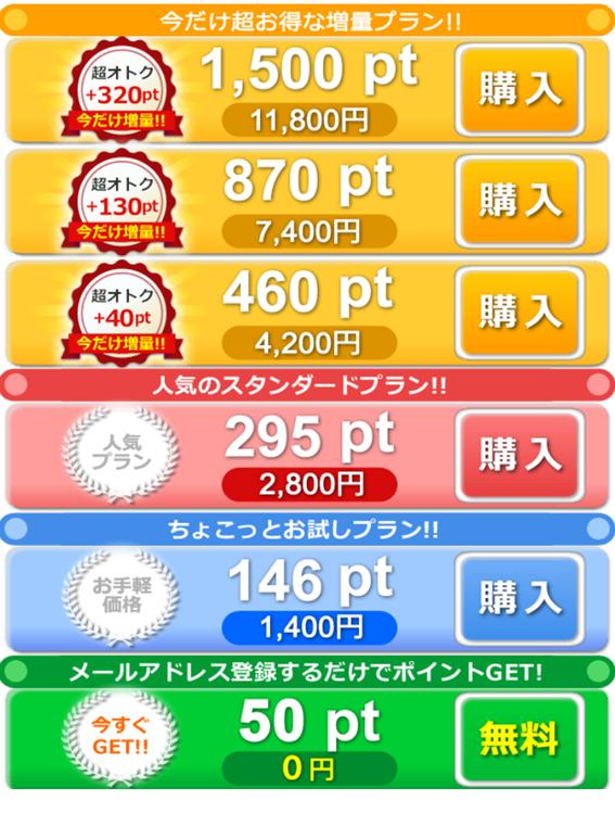 アプリ版の料金表