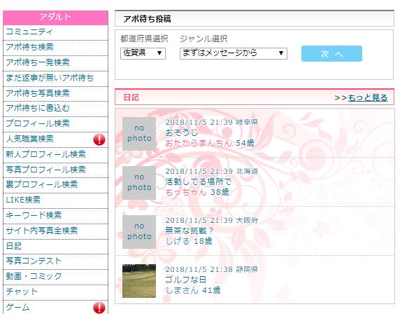web版のアダルト機能選択画面