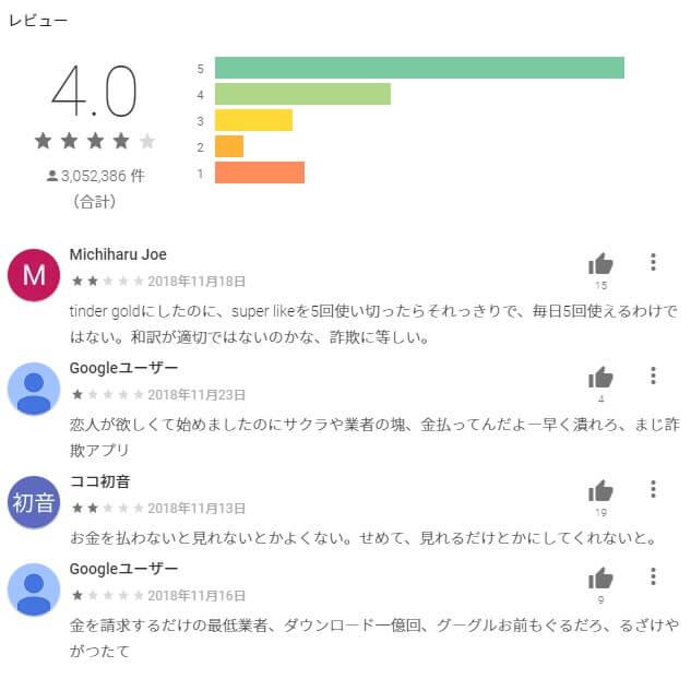 google playのアプリ口コミページ例